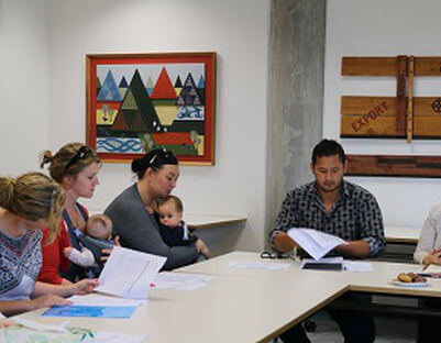 Te Whenua Hou mums attend the first Community Committee meeting chaired by Renata Hakiwai (top left) and Claire Bourne (top right).